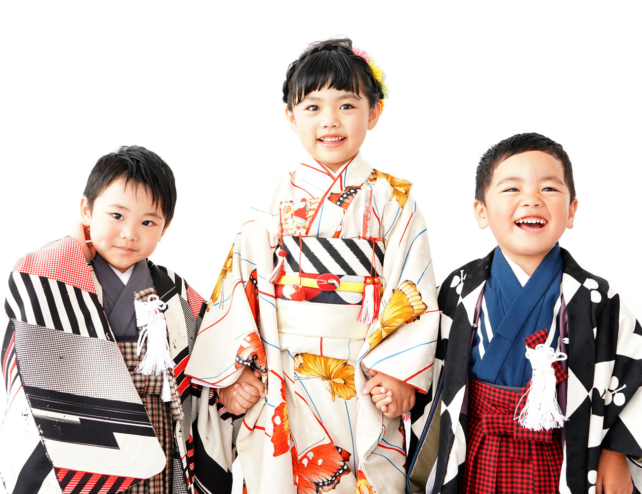 京都 おしゃれ七五三 写真☆姉弟3ショット