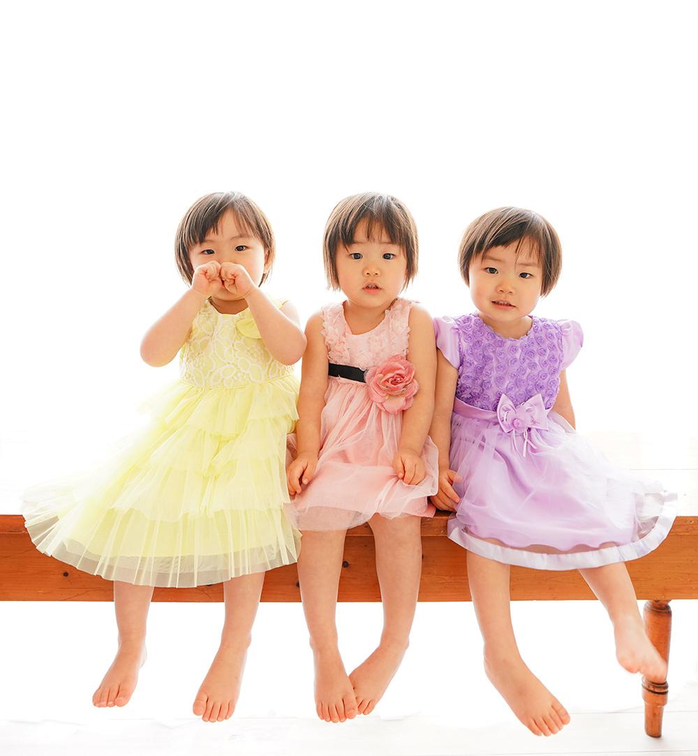 三つ子姉妹のバースデーフォト