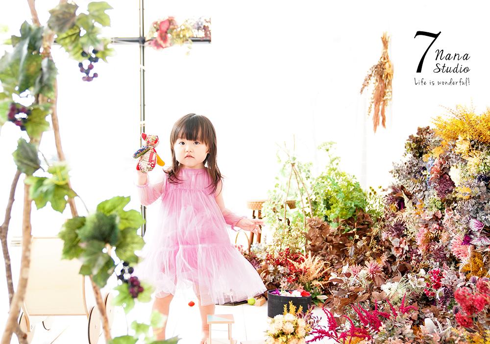 2歳の記念フォト ドレスとフラワーガール